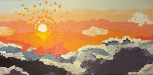 This was a painting of a sunset that my husband and I watched from on top Haleakala Crater on Maui. I loved this memory and wanted to have a painting of it in our bedroom.