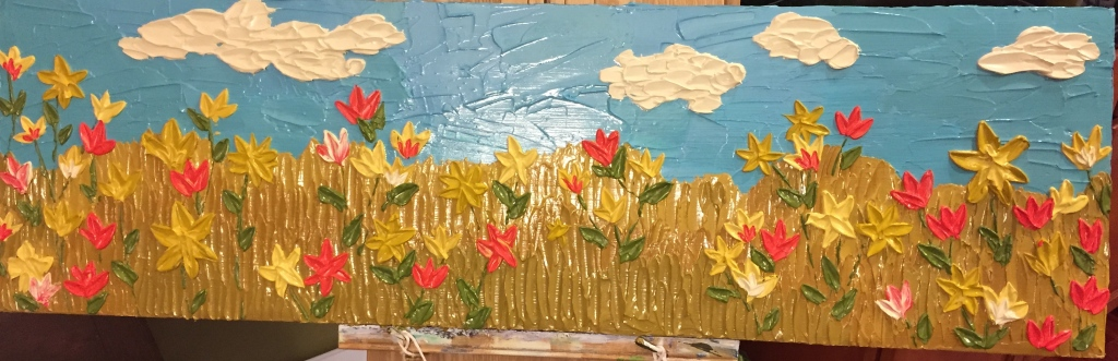 """Winter Garden, a 12""""x40"""" acrylic painting. I used a good amount of modeling paste with my paint to get the texture. Considering selling this one, even though I'm in love with it."""